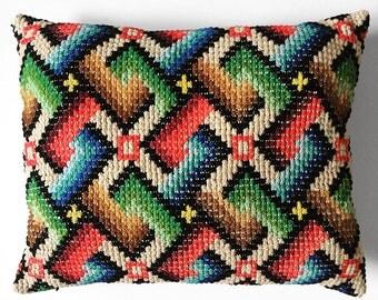 Vintage 1970's, Textured, Multi-Coloured, Woven, Throw Pillow, Cushion