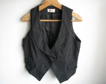 Black women vest Retro casual waistcoat Solid outfit Medium M size vest US-10 EU-38 AUS-14 size
