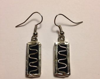 Solid black stained glass earrings