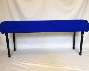 Cobalt blue upholstered bench