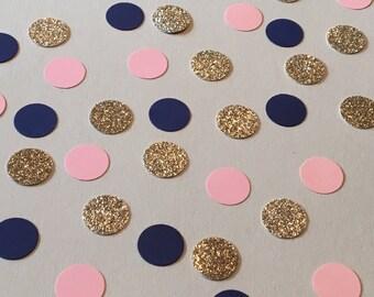 225 Pink Navy Gold Confetti Birthday Confetti Glitter Confetti Shower Confetti Polka Dot Confetti Gold Confetti Navy Confetti Pink Confetti