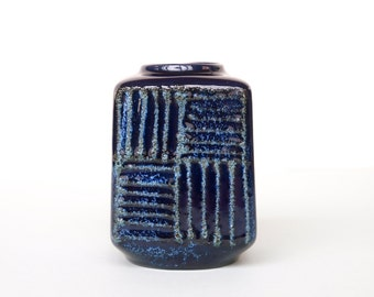 VEB STREHLA East German Vintage Square Vase in Deep Blue Form 1212 Fat Lava