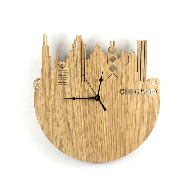 large wall clock wood modern chicago skyline wood tourism ho
