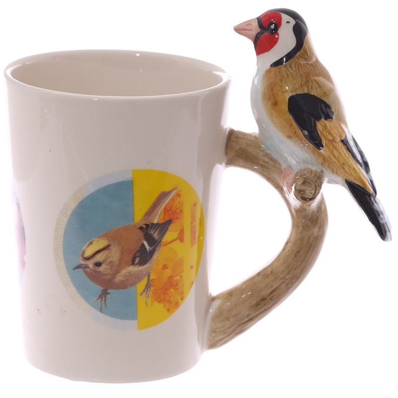 Coffee cup fun goldfinch shaped handle ceramic mug by for Funny shaped coffee mugs