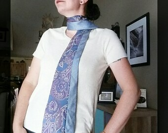 Handsewn silk scarf, ladies silk scarf, statement scarf, gift for her, sustainable fashion, upcycled tie scarf, unique gift, silk tie wrap