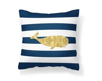 Throw Pillow Nautical, Decroative Pillow, Anchor Pillow, Gold Pillow, Navy Pillow, White Pillow, Striped Pillow