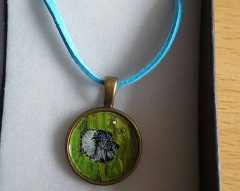Hand painted betta fish pendant with bubbles, one of a kind wearable art from the uk :)