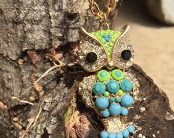 Hand painted gold owl necklace