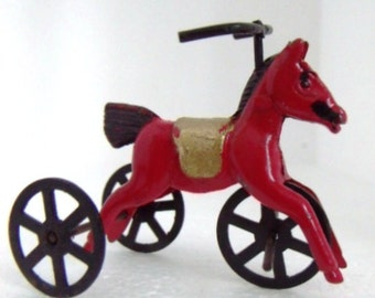 NEW, Vintage, 3 Wheel Horse Trike, Fairy Garden, Dollhouse Mini, 1980, Store Stock