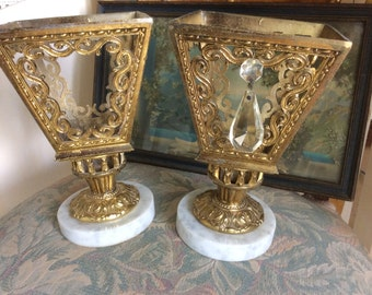 SALE REDUCED! Vintage Hollywood Regency, Lamps, Metal Filigree and Marble, Pair