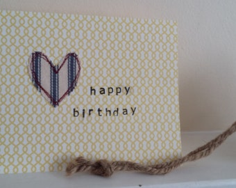 happy birthday stitch heart greeting card