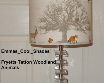 New Handmade Lampshade - Fryetts Tatton Woodland animals Lampshade Fryetts Fabric - Drum Stag Fox Owl Deer