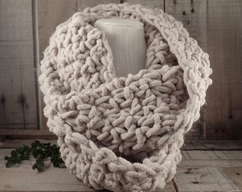 Urban Crochet Knit Infinity Scarf Oatmeal with Super Subtle Sparkle Item #559