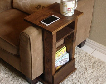 Couch arm table/magazine holder