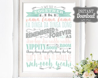 We Go Together Grease Song Lyrics Poster - INSTANT DOWNLOAD - Grease Movie Music inspired Digital Art Print with 3 sizes included