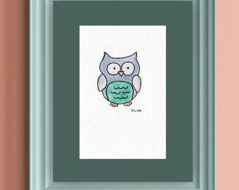 Owl Original Watercolor Painting