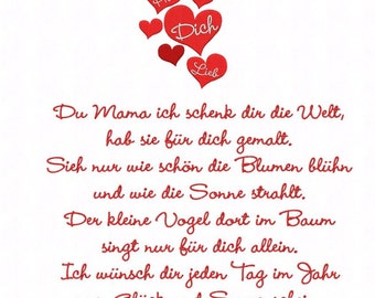Embroidery file * Mother's Day poem * 4 Gößen with extra logo for 10x10 frame