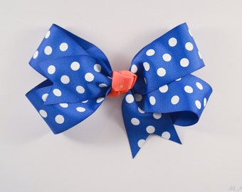 Blue White and Coral Medium Hairbow m2m Made to Match Matilda Jane March 2016