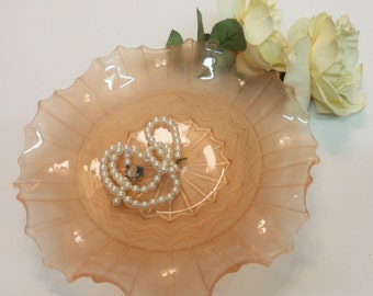 Delicate Pink Fluted-Edge Glass Plate or Shallow Dish - 1950's Pink Pressed Glass (stock#6454)