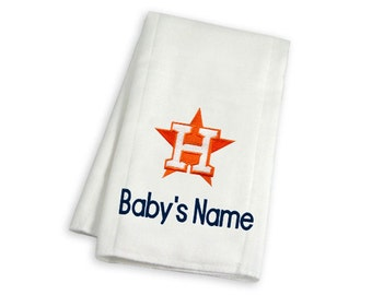 Personalized Houston Astros Baby Burp Cloth