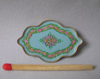 Hand-Painted Dollshouse Tray - Small Pale Blue with Gold Trim