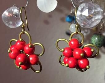 Red Howlite Earring