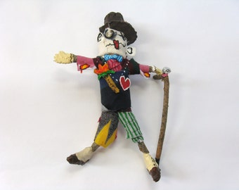 Well Dressed Voodoo Doll, Male Doll, Art Doll with a Walking Stick, Novelty Gift, Gag Gift, Fashion Plate, Formal Attire, Altered Art