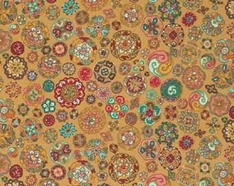 "Snow Leopard  ""Himalaya""  Tashi Crimson Cotton Fabric"