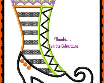Halloween Witch Boot Digital Embroidery Machine Applique Design File  5x7 6x10