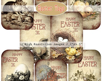 Easter Tags Printable Gift Vintage Collage tags Instant Download