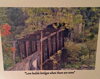 Love builds bridges...Photo Greeting Cards, Handmade, Set of 10