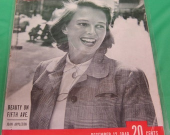 Life Magazine December 12, 1949 - Beauty on 5th Avenue Issue - Joan Appleton on the Cover