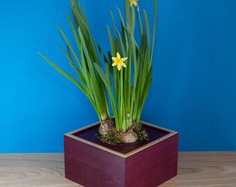 Wooden Planter / Flower Pot / Wooden Flower Pot / Purpleheart Flower Pot Holder / Flower Display / Flower Planter
