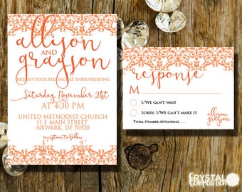 Coral and Lace Modern Wedding Invitation Suite Printable