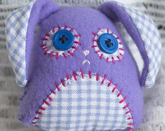 Hand Sewn Bunny Plush [Lavender & Blue Check]