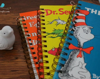 Dr. Seuss, Upcycle, books, journal, notebook, notepads, art folio, sketch pad, upcycled book,  repurposed, diary, calendar, Blank book