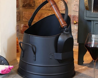French Black Coal Bucket with Shovel - Fireside Storage and Easy Transportation