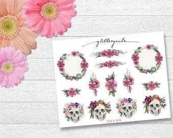 Romantic floral wreath skull stickers