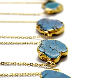 Raw Turquoise  Necklace Wrapped in 24k Gold Dipped On A 24k Gold Plated Chain