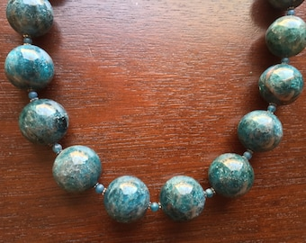 Apatite Necklace- Large Blue Apatite Necklace, Free Shipping