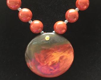 Autumn Leaf Jasper Pendant Necklace, Free Shipping