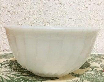 Vintage Fire King Milk Glass Swirl Mixing Bowl