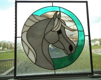 Large Rare Horse Stained Glass 16.5 - 16.5