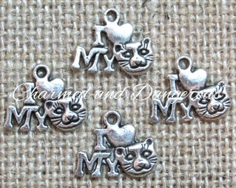 10 pewter I Heart My Cat charms (CM19)