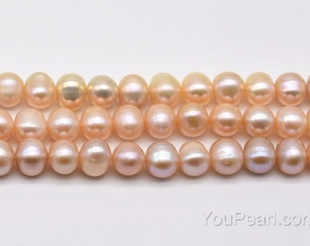 8-9mm pink pearls, natural potato pearl, can be drilled large hole up to 2.5mm, genuine freshwater pearl beads on sale full strand, FP510-PS