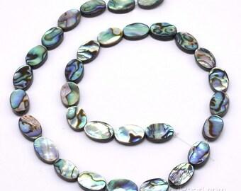 8x12mm paua beads, oval shape drops abalone shell, genuine shell strand, natural paua shell jewelry wholesale, wedding, ABA1040