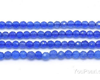 Blue agate beads, 3mm faceted round, gemstone natural stone beads, agate stone beads necklace for gemstone jewelry supplies, AGA1107