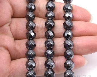 Hematite beads, 8mm round faceted, black hematite beads, grade A gemstone, genuine loose gem bead strand, beads jewelry supply, HMT1040