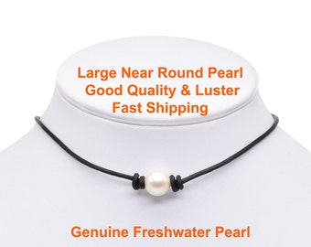 Leather pearl choker, pearl necklace, floating pearl necklace, single pearl choker necklace, large real pearl 11mm near round pearl F2995-WN