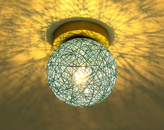 Sphere Hemp Rope Lampshade Ceiling Lamps,Wall Lamps,Colourful Decor Lighing, Bar Lighting,Night Light,Sample Style Lighting,Indoor lighting